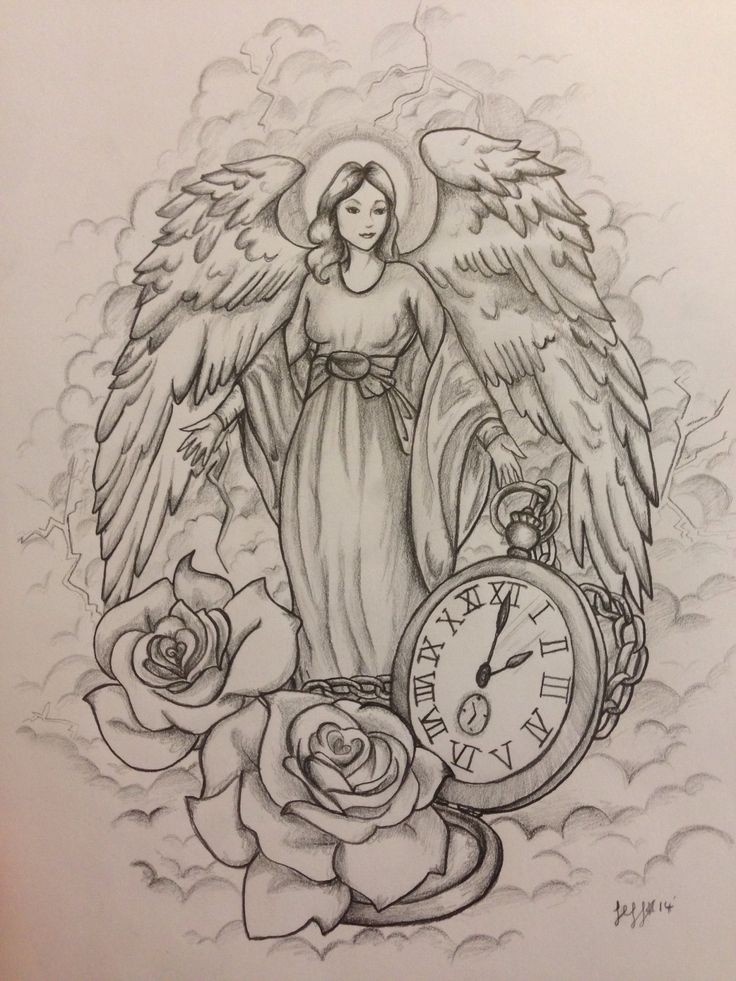 Kind angel woman with a huge pocket clock and rose buds tattoo design