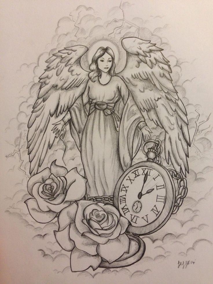 kind angel woman with a huge pocket clock and rose buds tattoo design. Black Bedroom Furniture Sets. Home Design Ideas