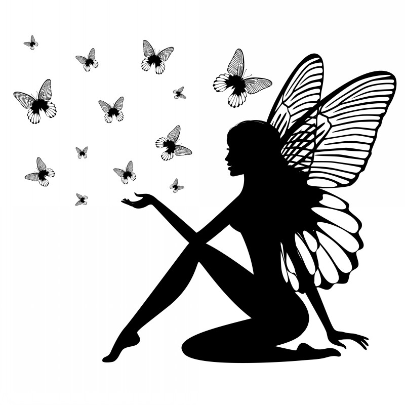 Kind blak-ink sitting fairy silhouette and flying butterfly flock tattoo design