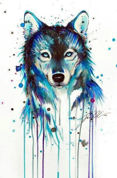 Kind blue watercolor wolf with smudges tattoo design