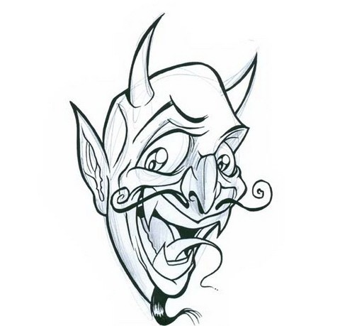 Kind uncolored devil with curly moustache tattoo design