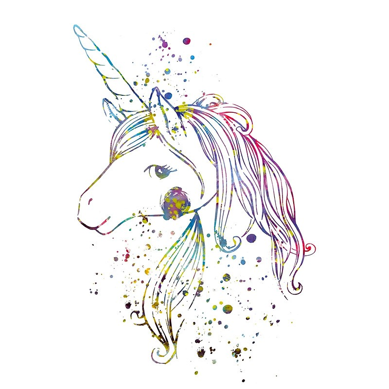 Kind unicorn head in watercolor splashes tattoo design