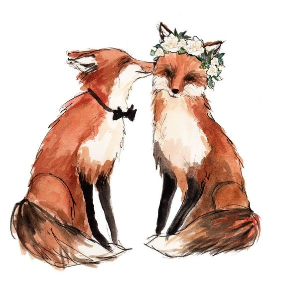 Kissing fox couple in black tie-bow and white wreath tattoo design