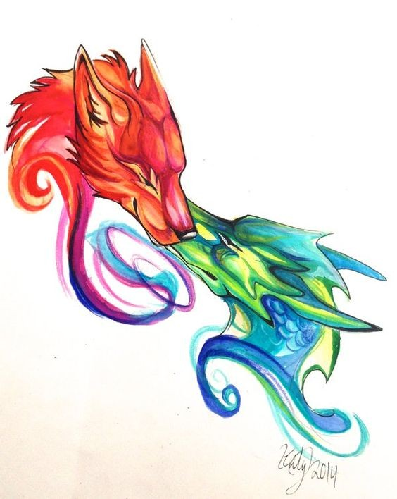 Kissing swirly blue and red dragon and wolf tattoo design