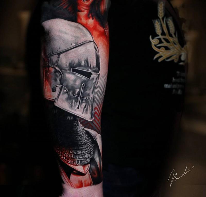 Knight in hamlet tattoo on shoulder