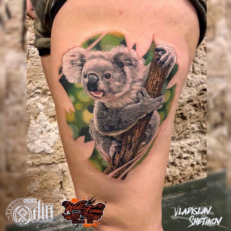 Koala bear tattoo on leg