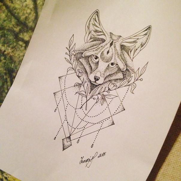 Lace dotwork fox head tattoo design
