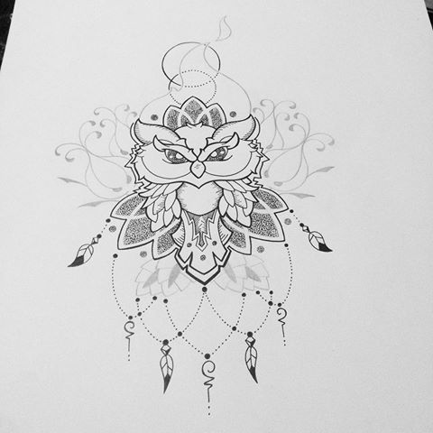 Lace dotwork owl with floral elements tattoo design
