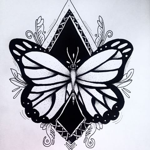 Large butterfly on black rhombus background tattoo design