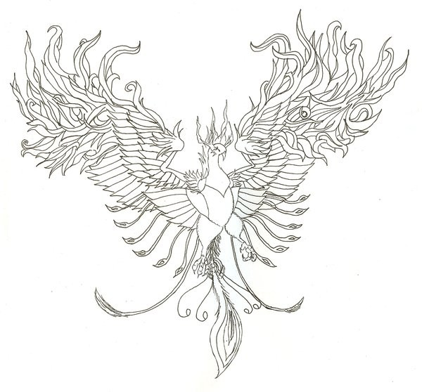 Large Colorless Open Winged Phoenix Tattoo Design By