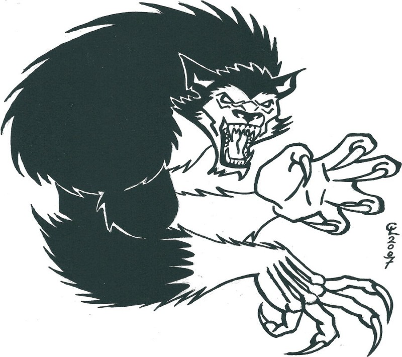 Large werewolf with black back and white arms tattoo design by Chricko