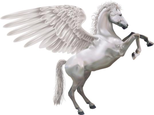Large white angel pegasus tattoo design