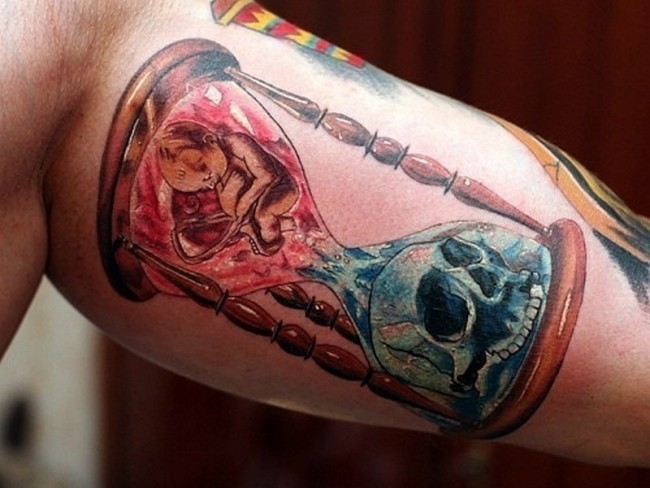 Life and death hourglass tattoo for men