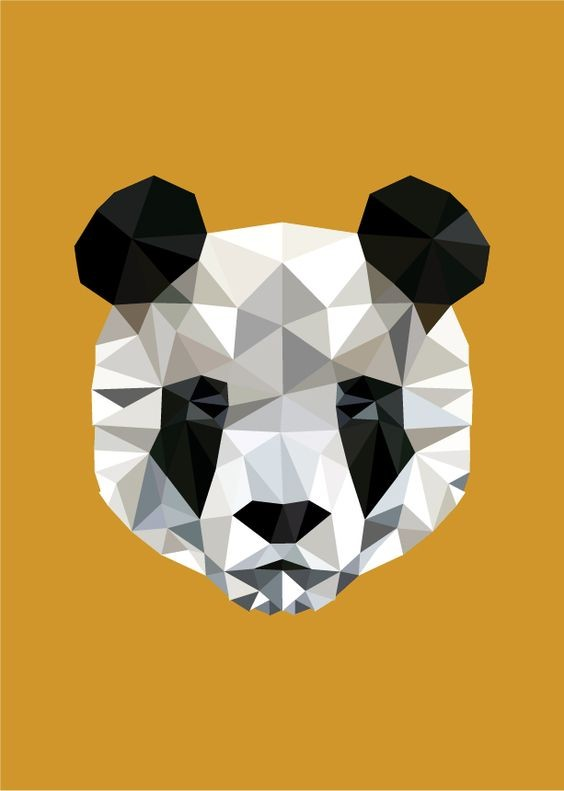 Lifeless geometric panda mmuzzle tattoo design