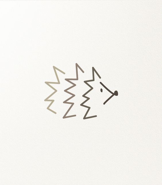 Light-brown line hedgehog silhouette logo tattoo design
