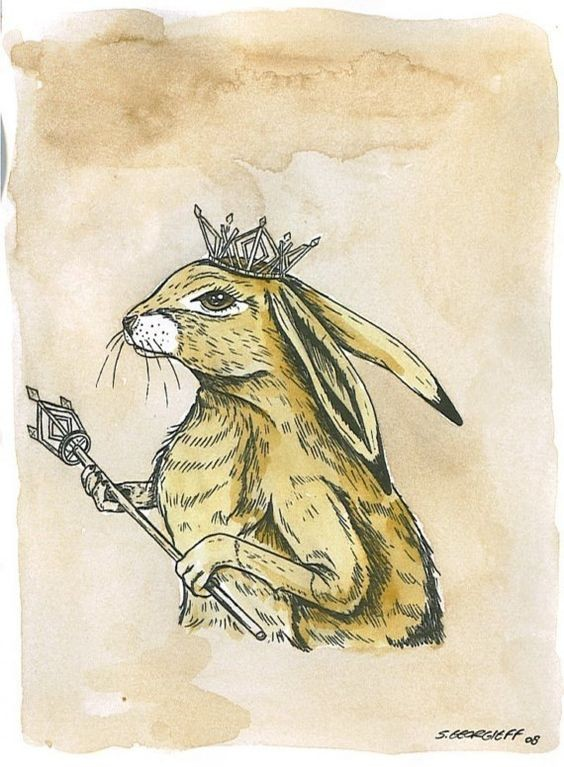 Light brown crowned hare king with scepter tattoo design