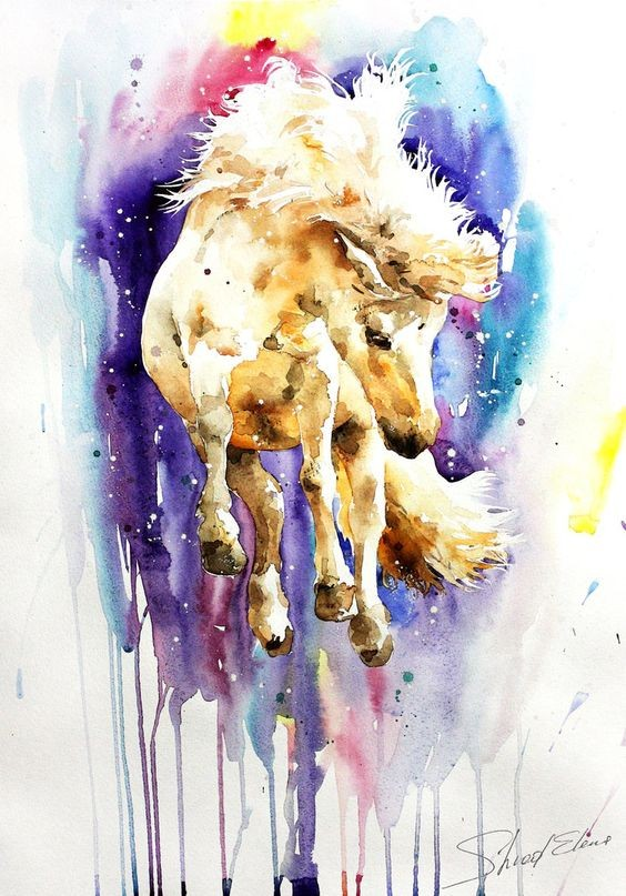 Light brown horse running on blue-and-purple watercolor background tattoo design