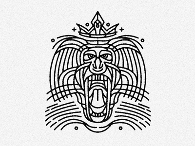 Line-patterned crowned baboon king tattoo design