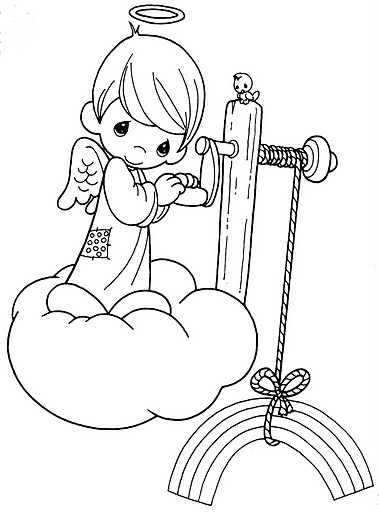 Lineart angel child on a cloud with a rainbow tattoo design