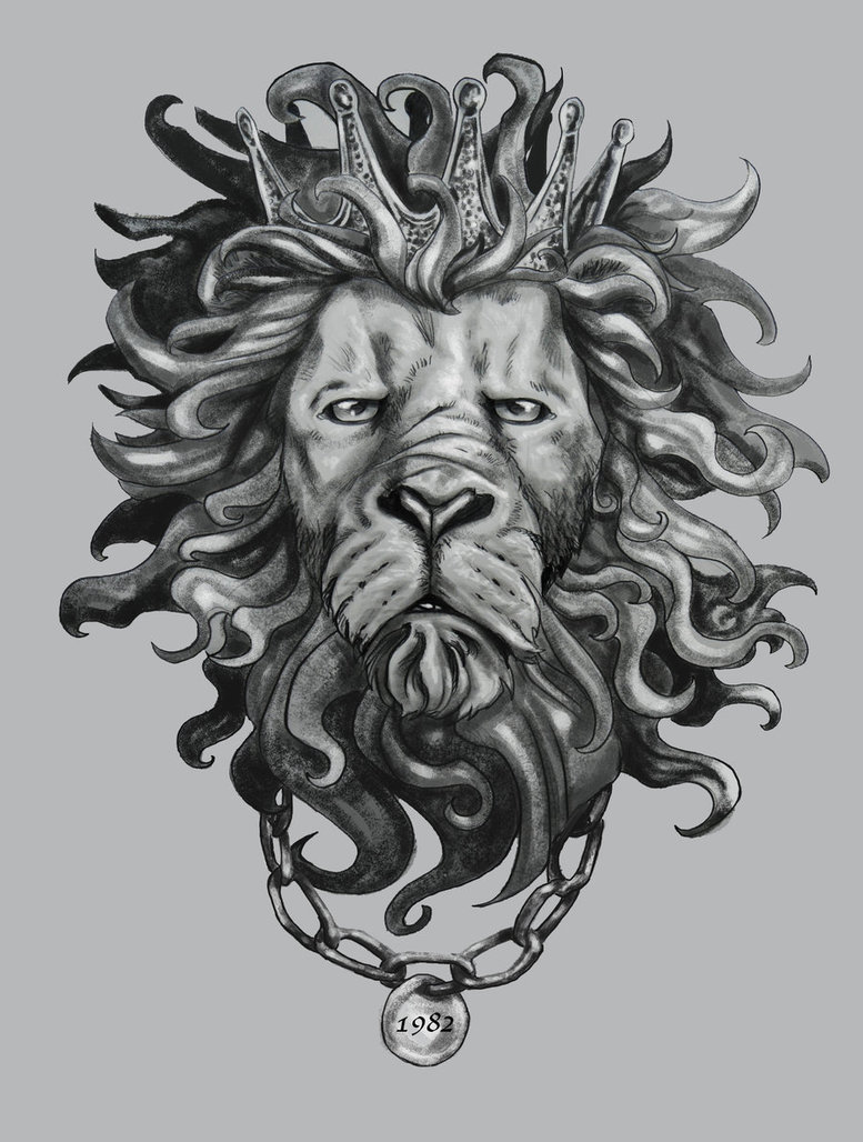lion king in crown and chain necklace tattoo design by self recyclable. Black Bedroom Furniture Sets. Home Design Ideas