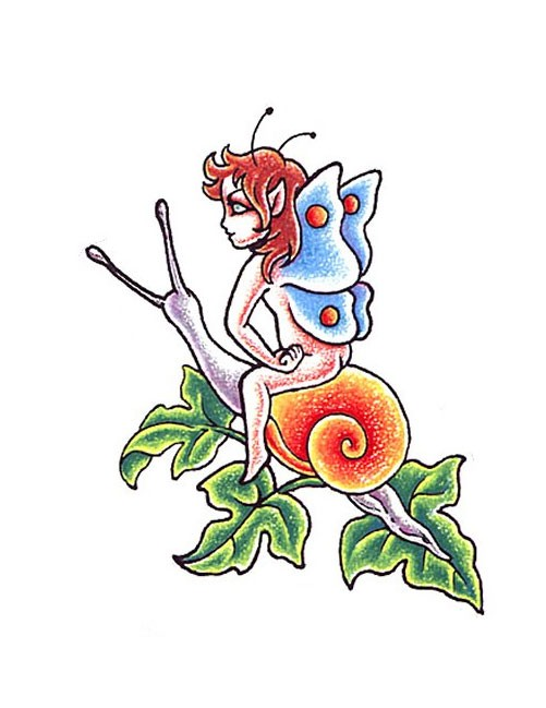 Little agressive fairy baby riding a snail tattoo design