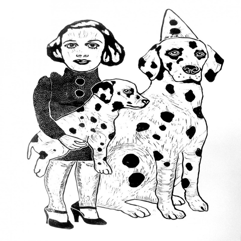 Little black-and-white girl with domestic animal couple tattoo design
