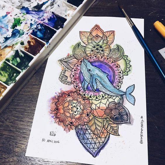 Little blue whale on colorful indian ornate background tattoo design