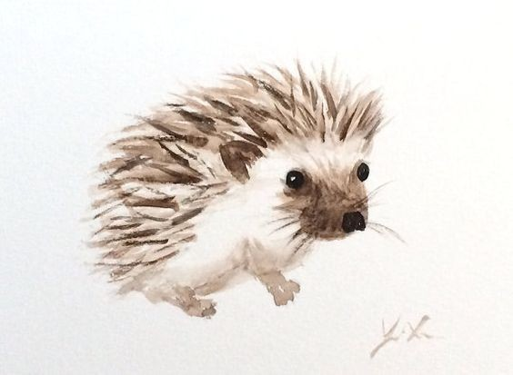Little brown-and-white hedgehog tattoo design