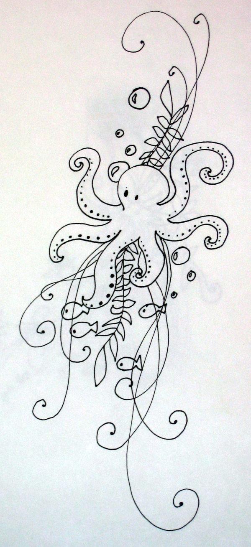 Little cartoon octopus with weeds tattoo design for Small cartoon tattoo designs