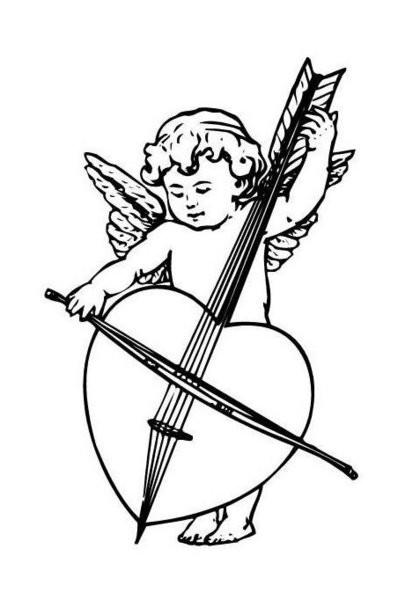 Little cherub angel playing a violin tattoo design