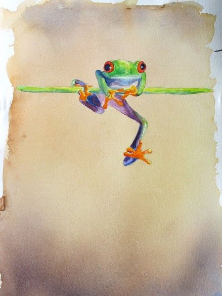 Little colorful frog tryint to stay in thin stem tattoo design