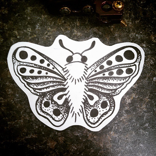 Little dotwork moth tattoo design