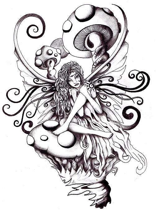 Little fairy sitting among huge mushrooms tattoo design