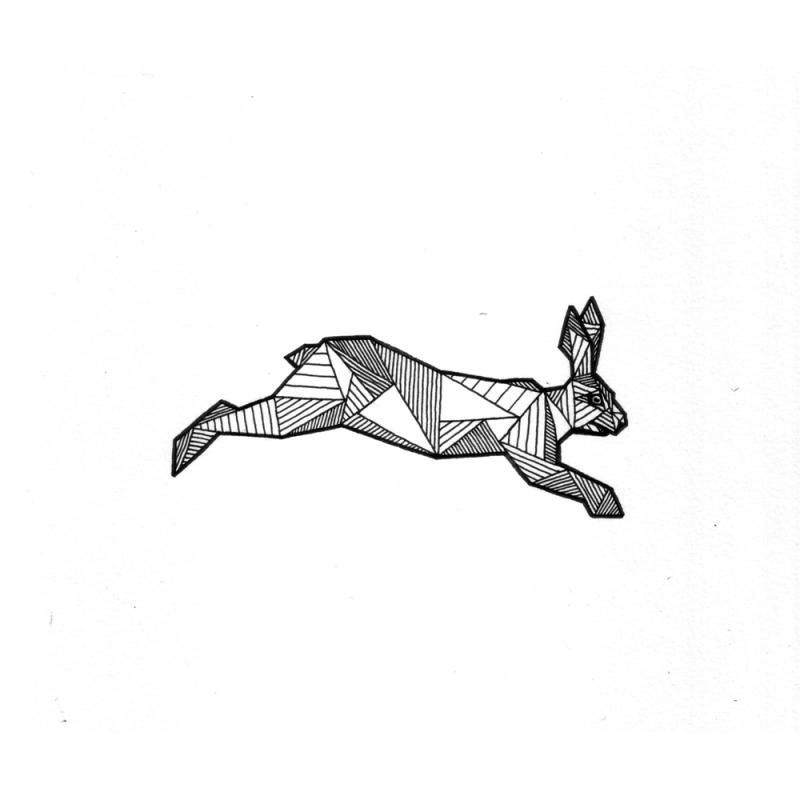 Little geometric-style jumping hare tattoo design