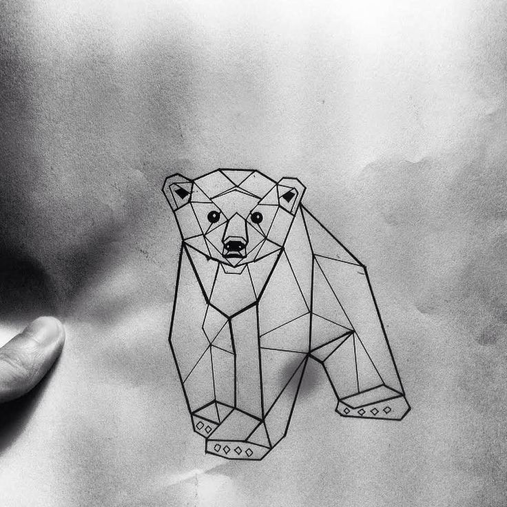 Little geometric bear baby tattoo design - Tattooimages.biz