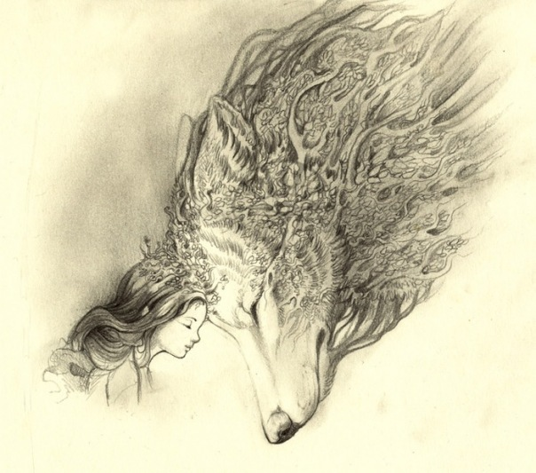 Little girl and forest wolf friendship tattoo design