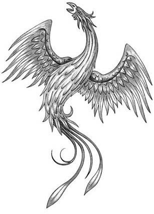 Little grey-ink screaming phoenix bird from back tattoo design