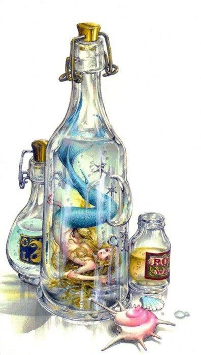 Little helpless blondy mermaid locked in the glass bottle tattoo design