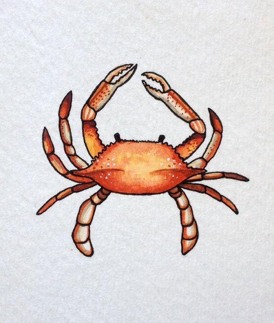 Little orange crawling crab tattoo design