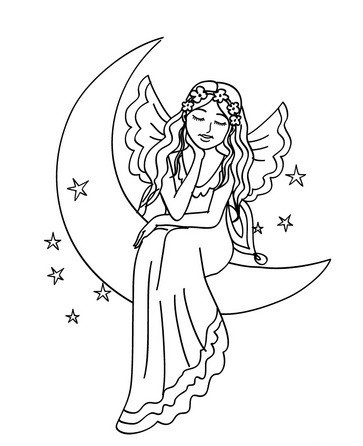 Little outline fairy dreaming on the moon tattoo design
