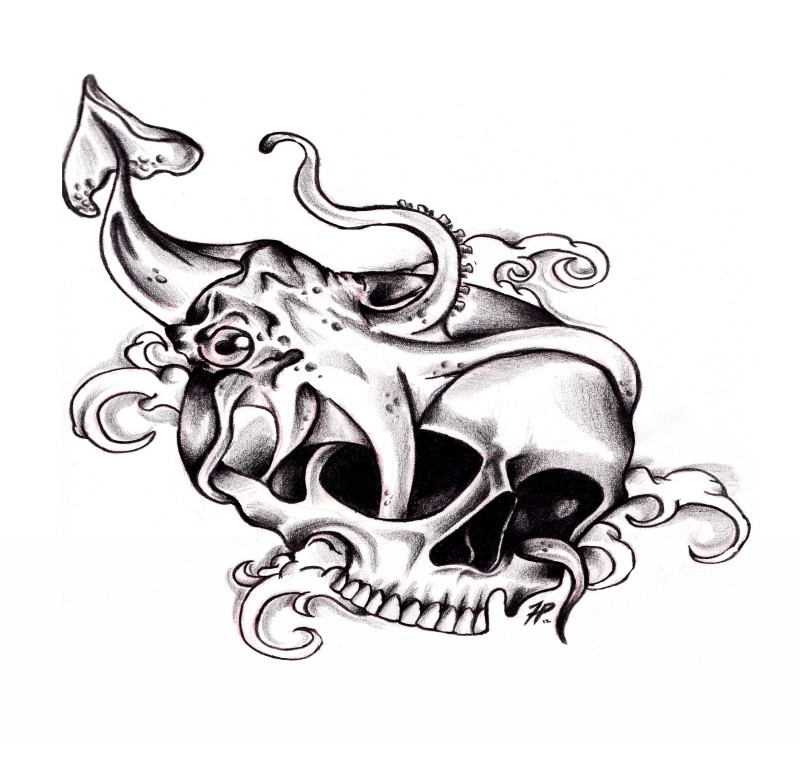 Little squid water animal pushing tentacles into skull holes tattoo design