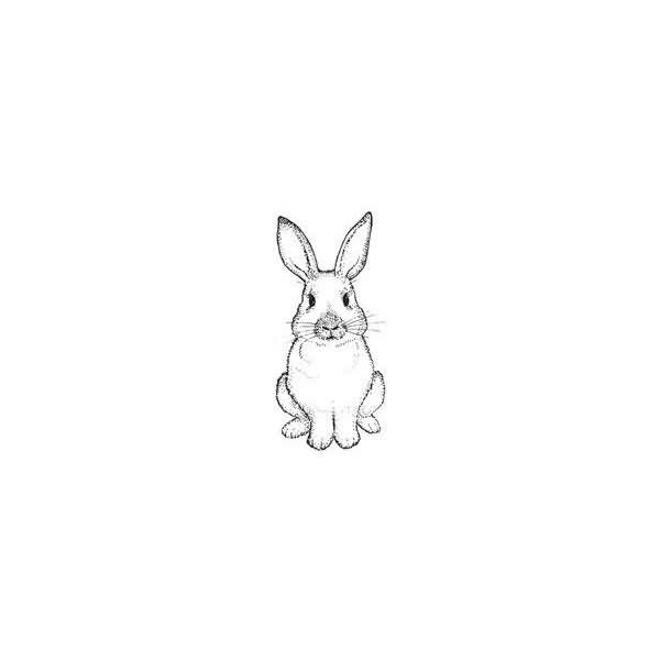 Little uncolored girly sitting hare tattoo design