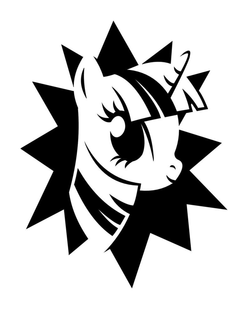 Little white charming unicorn on black star background tattoo design by Yesi Chan