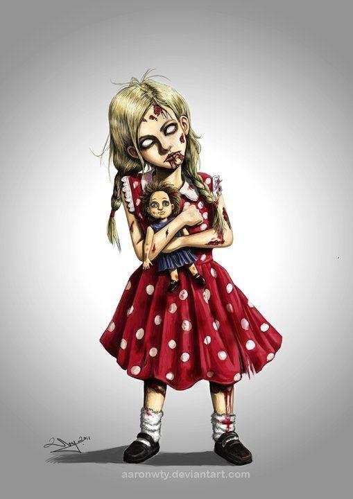 Little zombie girl keeping a dool tattoo design