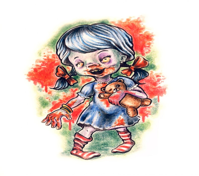 Little zombie girl with teddy bear tattoo design by Urfin