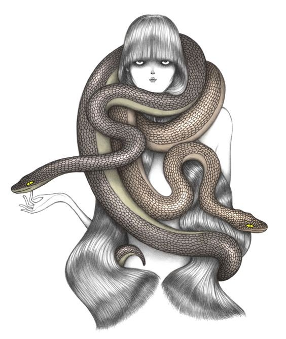 Long-haired girl curled with heavy brown reptiles tattoo design