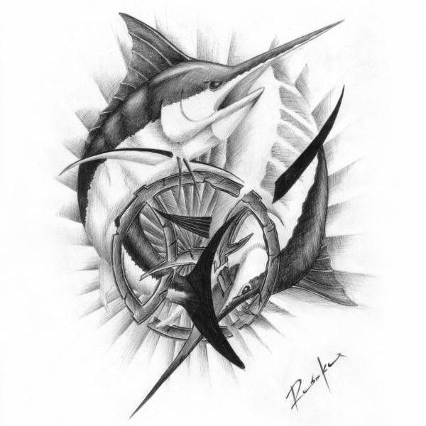 Long-nose shark and zodiak symbol tattoo design
