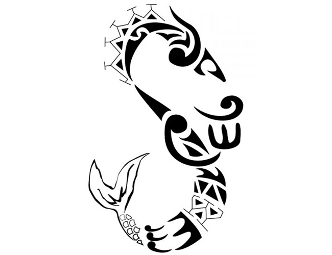 Long patterned tribal fish tattoo design