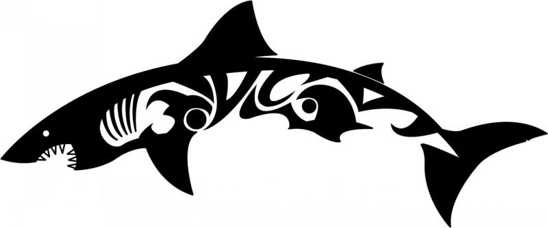 Long tribal shark tattoo design