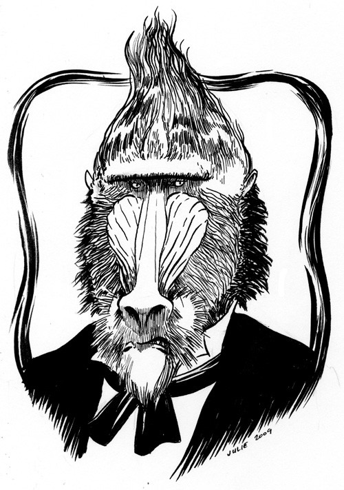 Lordy black-and-white dressed mr baboon in frame tattoo design